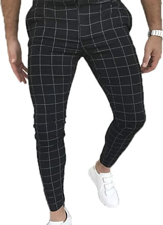 Hellomiko Mens Casual Plaid Pattern Formula Cropped Casual Trousers Slim Stretch Trousers Straight Trouser Black