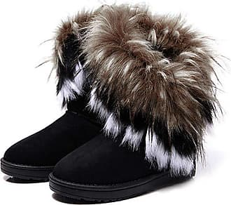 Zeagoo Hot Gradient Color Autumn Winter Womens Girls Snow Ankle Boots Warm Fur Shoes Black