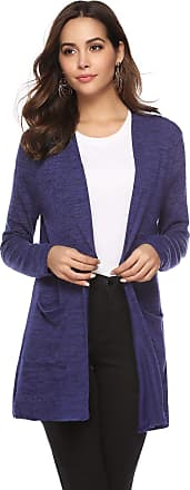 Abollria Cardigan for Women Waterfall Lightweight Long Sleeve Open Front Cardigan with Pockets Navy Blue