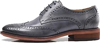MGM-Joymod Womens Classic Lace-up Casual Vintage Simple Comfortable Perforated Wingtip Brogues Oxfords Flats Dress Leather Shoes (Grey) 7.5 M UK