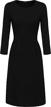 Zeagoo Women Casual 3/4 Sleeves Dress Sheath Dress A-Line Round Neck