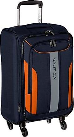 Nautica Carry-On Expandable Spinner Luggage, Navy/Orange