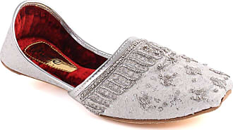 Unze Unze Men ZANDER Flat Golden Traditional Indian Leather Punjabi Jutti Khussa UK Size 3-8 - WS-2