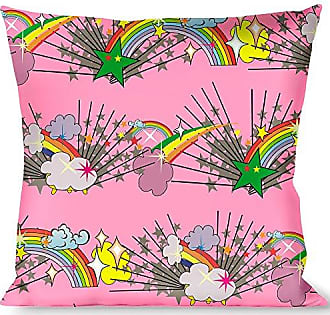 Buckle Down Pillow Decorative Throw Rainbow Cloud Stars Pink