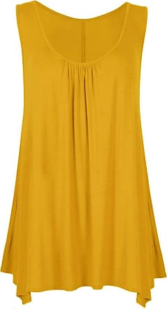 ZEE FASHION Women Ladies Loose Fit Ruched Hanky Hem Plain Jersey Tunic Blouse Sleeveless Flared Vest Swing Top Plus Sizes UK 8-26 Mustard
