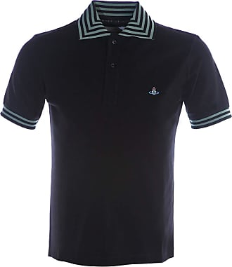 Vivienne Westwood Stripe Collar Polo Shirt in Black