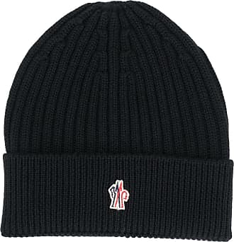 Moncler logo patch knitted beanie - Preto