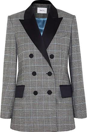 Racil Audrey Satin-trimmed Houndstooth Wool Blazer - Black