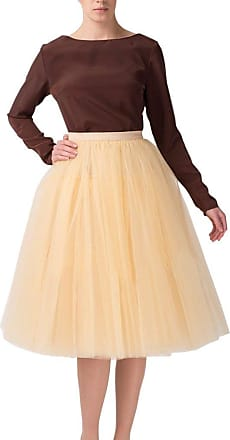 Clearbridal Womens 50s Vintage Tulle Petticoat Tutu Skirt Bridal Petticoat Underskirt for Prom Evening Wedding Party 12021 Champagne