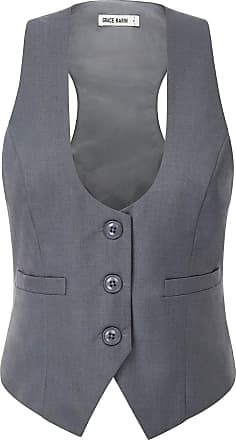 Grace Karin Women Vintage Banquet Waistcoat 50s Slim Button Down Work Business Party Vest Jacket Pure Grey XXL