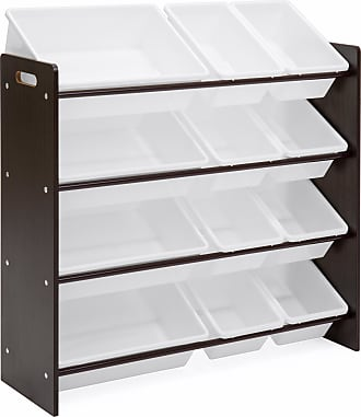 Best Choice Products 4-Tier Kids Playroom Wood Toy Storage Organizer Shelves w/ 12 Easy-To-Clean Plastic Bins - White