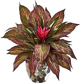 Nearly Natural 8679 Ginger and Musa Leaf Artificial Silver Planter Silk Plants Pink