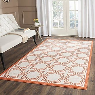 Safavieh Amherst Collection AMT413F Ivory and Orange Indoor/ Outdoor Area Rug (3 x 5)