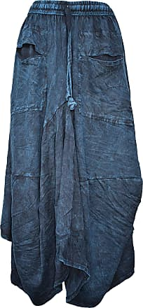 Gheri Womens Cotton Distressed Open Pocket Hi Low Skirt Turquoise
