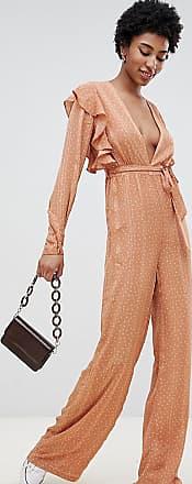 Glamorous Dezent gepunkteter Jumpsuit mit Flatterärmeln-Braun