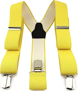 TigerTie Unisex Braces in Y Shape with 3 Extra Strong Clips - Colour in Plain - High-Quality Workmanship - Width 35 mm - Yellow - One size