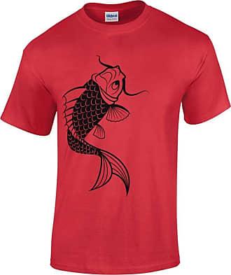 Bang Tidy Clothing Mens Koi Carp 3 Fishing Tackle Angling Tattoo Gift T Shirt Red XL