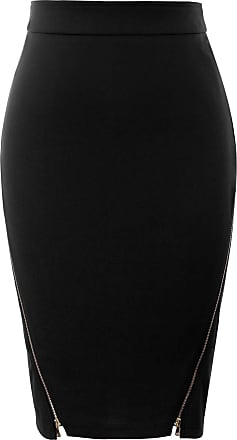 Grace Karin 50s Vintage Skirt for Women Black Bodycon Skirt Summer Midi Elastic Slim Formal Business Skirt CL1012-1 L