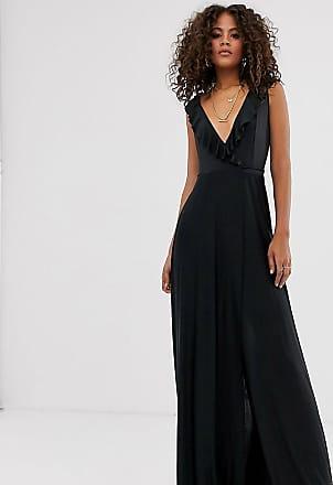 Asos Tall ASOS DESIGN Tall ruffle wrap maxi dress with tie detail-Black