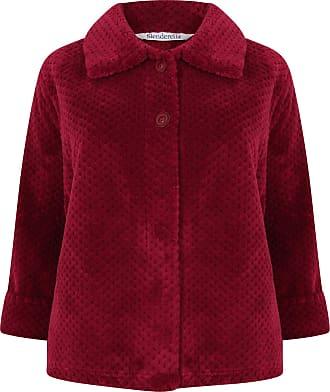 Slenderella Ladies Soft Waffle Fleece Bed Jacket Button Up Collar House Coat Medium (Raspberry)
