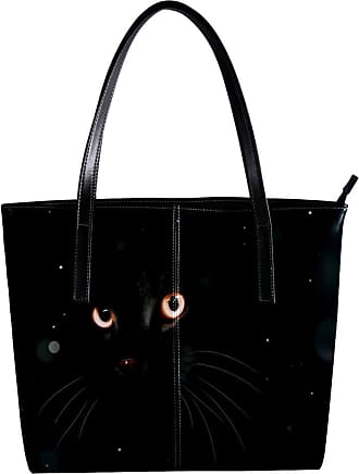 Nananma Womens Bag Shoulder Tote handbag with Black Cat With Glowing Eyes Pattern Zipper Purse PU Leather Top-handle Zip Bags