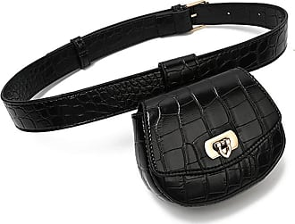 NA Female Pack Women Waist Bag Leather Belt Detachable Pouch Decoration Designer Simple Thin Belt Crocodile Pattern Waist Bag,Black,-Black