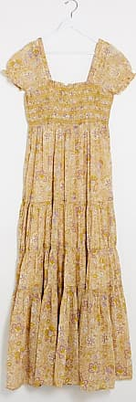 Free People Getaway printed square neck midi dress-Multi