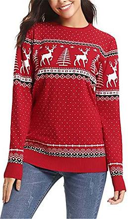 weihnachtspullover damen rundhals rot