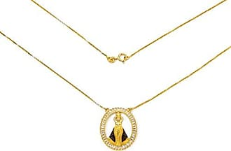 Prado Joias Gargantilha em Ouro 18k Nossa Senhora Com Zircônias
