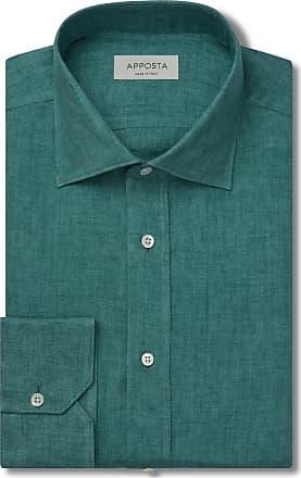 Apposta Camicia tinta unita verde lino tela lino normandia, collo stile semifrancese