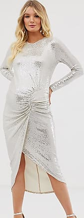 Queen Bee Maternity long sleeve ruched midaxi in white sequin-Silver