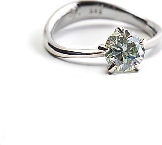 RIPA 14kt White Gold Molten Engagement Ring With Moissanite - UK M - US 6 - EU 52