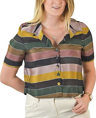 White Label Marks and Spencer Mustard Green Pink Stripe Silky Cropped Boxy Blouse M&S Womens Shirt Short Sleeve Size 14