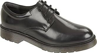 Roamers Boys Leather 3 Eyelet Lace Up Hi Shine Smart School Formal Gibson Shoes Size 1-6 - Black - UK 4