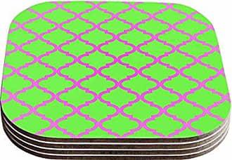 KESS InHouse Matt EklundCulture Shock Watermelon Green Pink Coasters (Set of 4), 4 x 4, Multicolor
