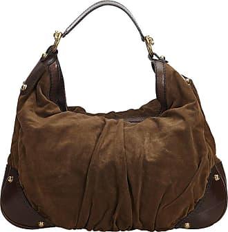 9be597b9077 Gucci Brown Dark Brown Suede Leather Jockey Hobo Bag Italy W  Dust Bag
