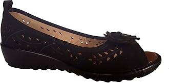 Cushion-Walk Womens Slip-on Peep Toe Shoes/Sandals in Black - Dominique (Numeric_6)
