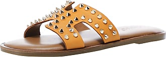 Inuovo Womens Leather Studded Sliders 5 Orange