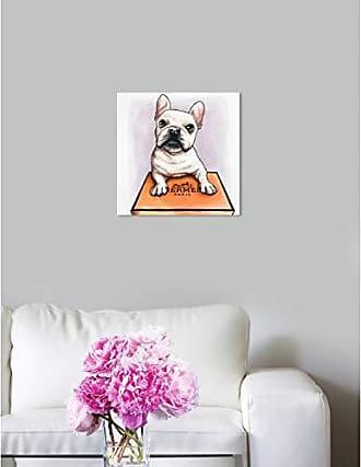 The Oliver Gal Artist Co. The Oliver Gal Artist Co. Oliver Gal Treasure Box Frenchie White Dogs and Puppies Wall Art Print Premium Canvas 12 x 12 Orange