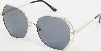 Quay Big Love round sunglasses in gold smoke
