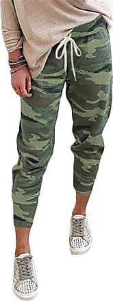 QIYUN.Z Women Camouflage Long Pants Camo Cargo Trousers Casual Summer Pants ArmyGreen 2XL