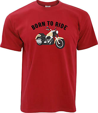 Tim And Ted Biker T Shirt Born to Ride Motorcycle Slogan - (Red/XXXX-Large)