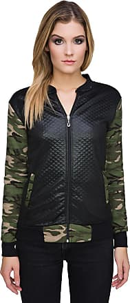FUTURO FASHION Ladies Casual Bomber Biker Quilted Textured Jacket Zip Up Camouflage Outwear Army Coat FZ90