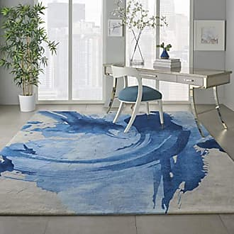 Nourison SMM01 Symmetry Abstract Blue and Ivory Large 79 X 99 Area Rug, 79X99