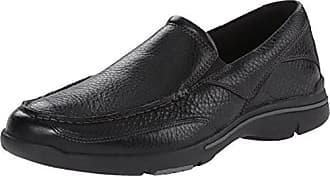 Rockport Mens Eberdon Slip-On Loafer- Black Leather/Flint-6.5 W