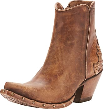 Ariat Womens Fenix Western Boots in Naturally Distressed Taupe Leather, B Medium Width, Size 3, by Ariat