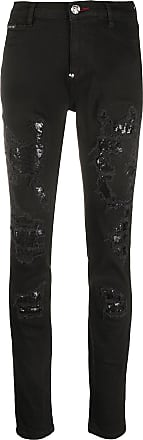 Philipp Plein Jeans in Distressed-Optik - Schwarz