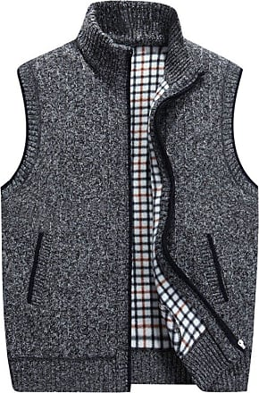 YOUJIA Mens Sleeveless Knitted Vest Plush Lining Waistcoat Cardigans Sweater Tank Tops (Dark Gray, CN 3XL)