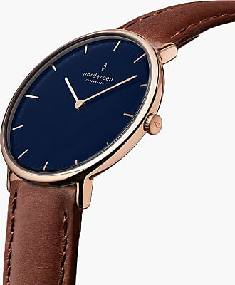 Nordgreen Native | Navy Dial - Brown Leather - 40mm / Rose Gold