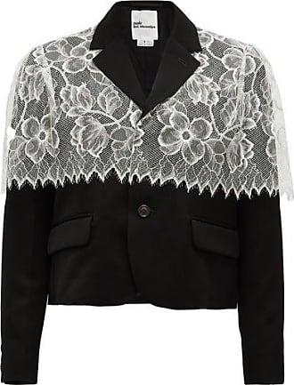 Comme Des Garçons Chantilly-lace Trimmed Wool Jacket - Womens - Black White